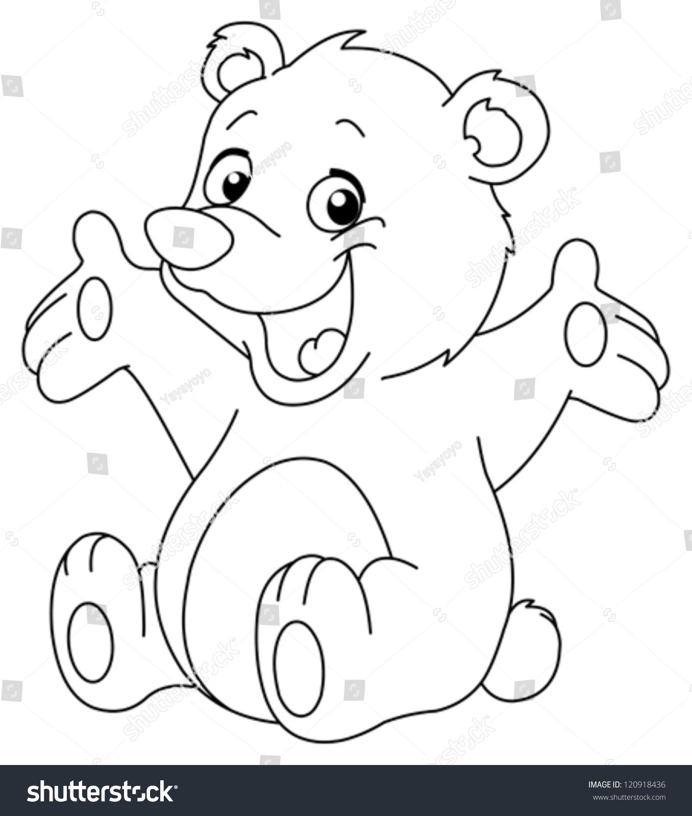 Outlined Happy Teddy Bear Raising His Stock Vector