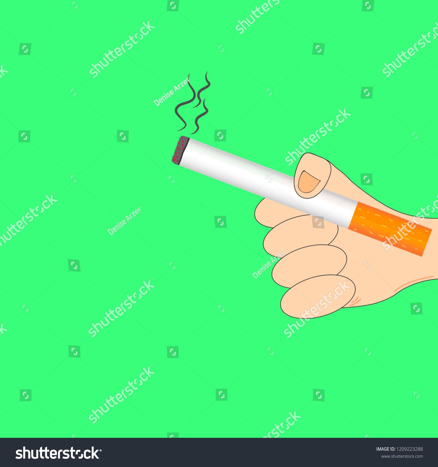 Cigarette Caricature caricature hand person holding cigarette stock vector (royalty free