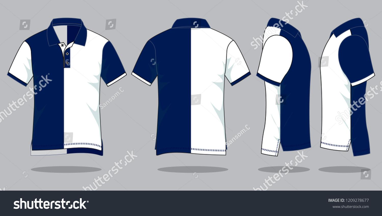 Set Polo Shirt Design White Navy Two Stock Vector Royalty Free