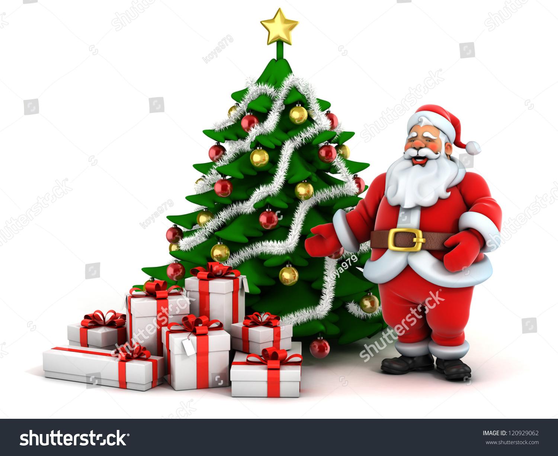 christmas scene santa claus christmas tree and presents - Santa Claus Presents