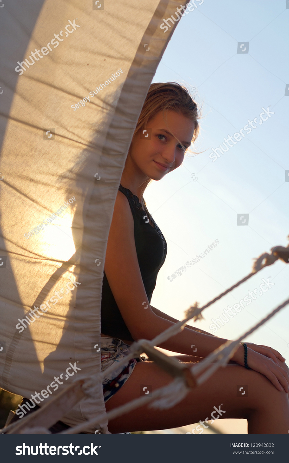 Charming Teen Girl Sitting Stern Ship Stock Photo 120942832 Shutterstock