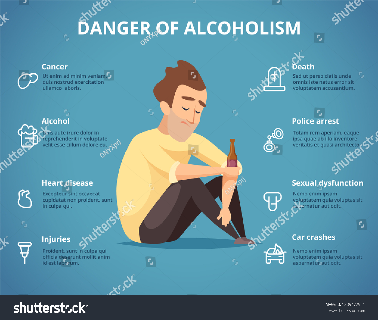 Alcoholism infographic. Alcohol, drugs addiction dangerous drunk driving car people social placard. Visualization addiction alcoholism, police arrest and death, cancer disease and sexual dysfunction