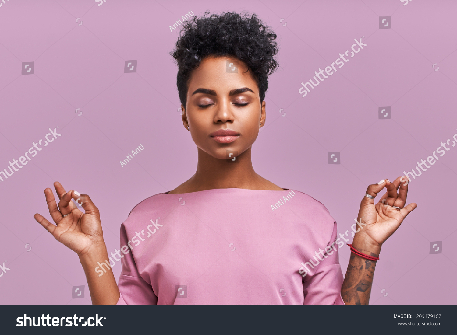Calm woman relaxing meditating, no stress free relief at work concept, mindful peaceful young businesswoman or student practicing breathing yoga exercises on isolated over lavender background #1209479167