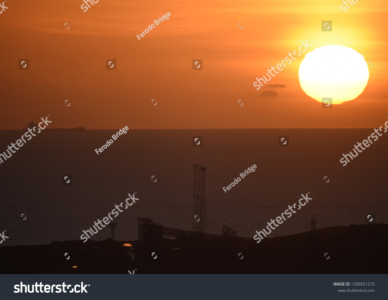 Bristol Channel Sunset Overlooking Port Talbot Stock Photo