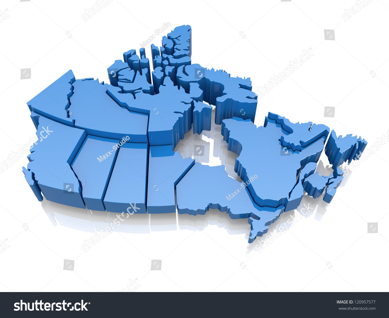 Threedimensional map canada on white background stock for 3 dimensional wallpapers 3d