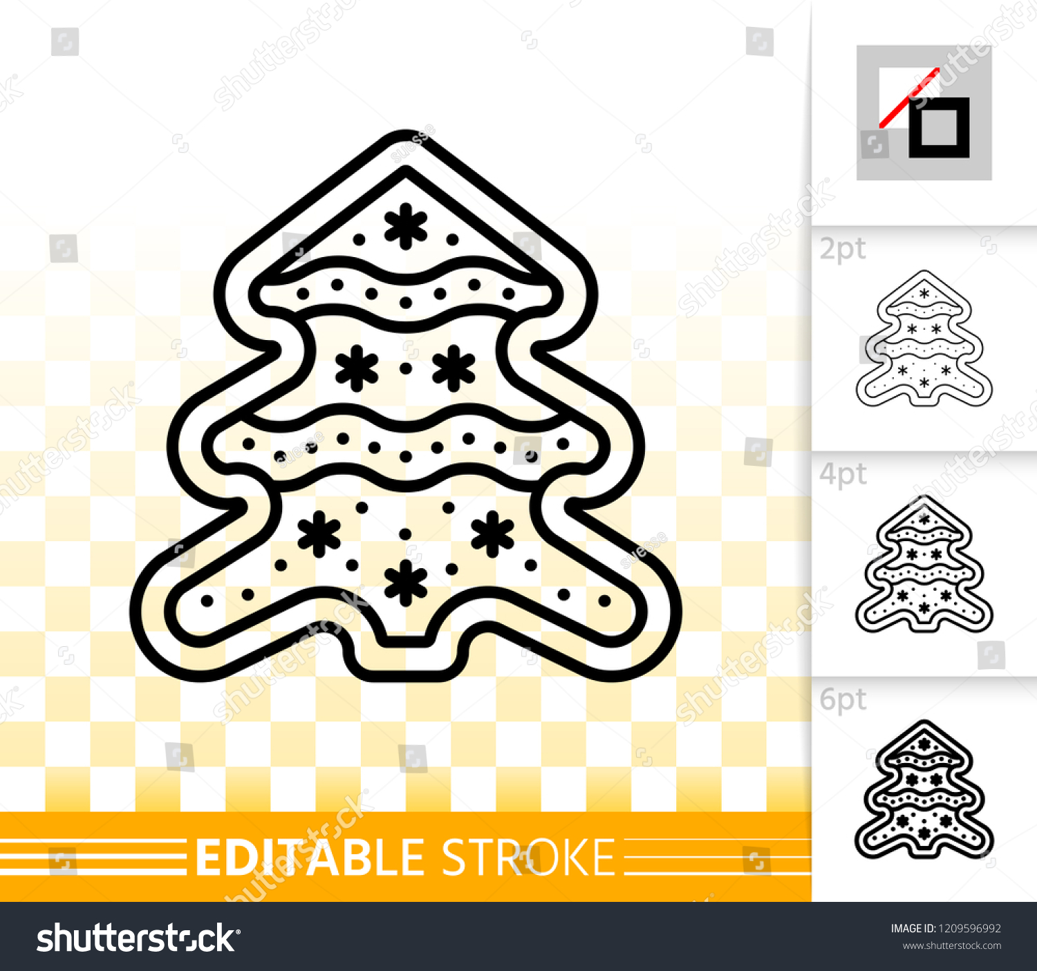 Gingerbread Cookie Thin Line Icon Outline Stock Vector Royalty Free