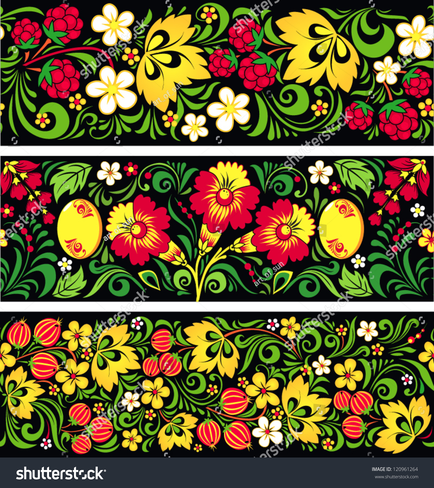 set seamless patterns traditional russian style stock vector set of seamless patterns in traditional russian style hohloma a brand of russian traditional or nts