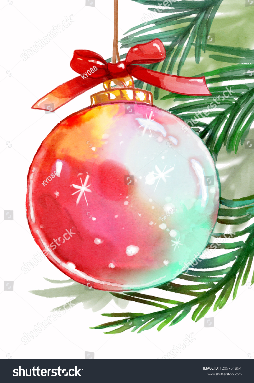 watercolor christmas ornaments isolated on white stock illustration
