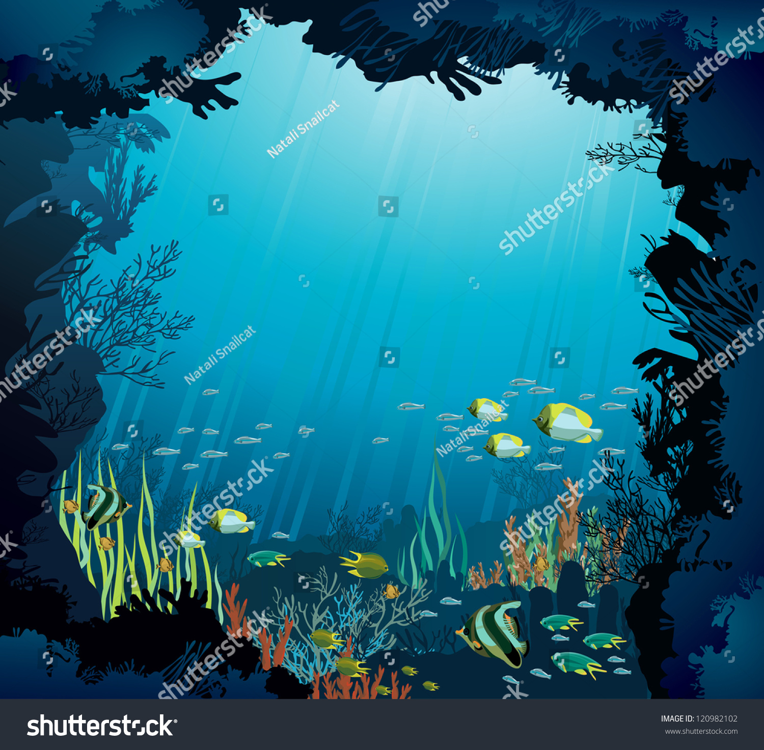 Coral Reef Background: Underwater Life Coral Reef Fish On Stock Vector 120982102