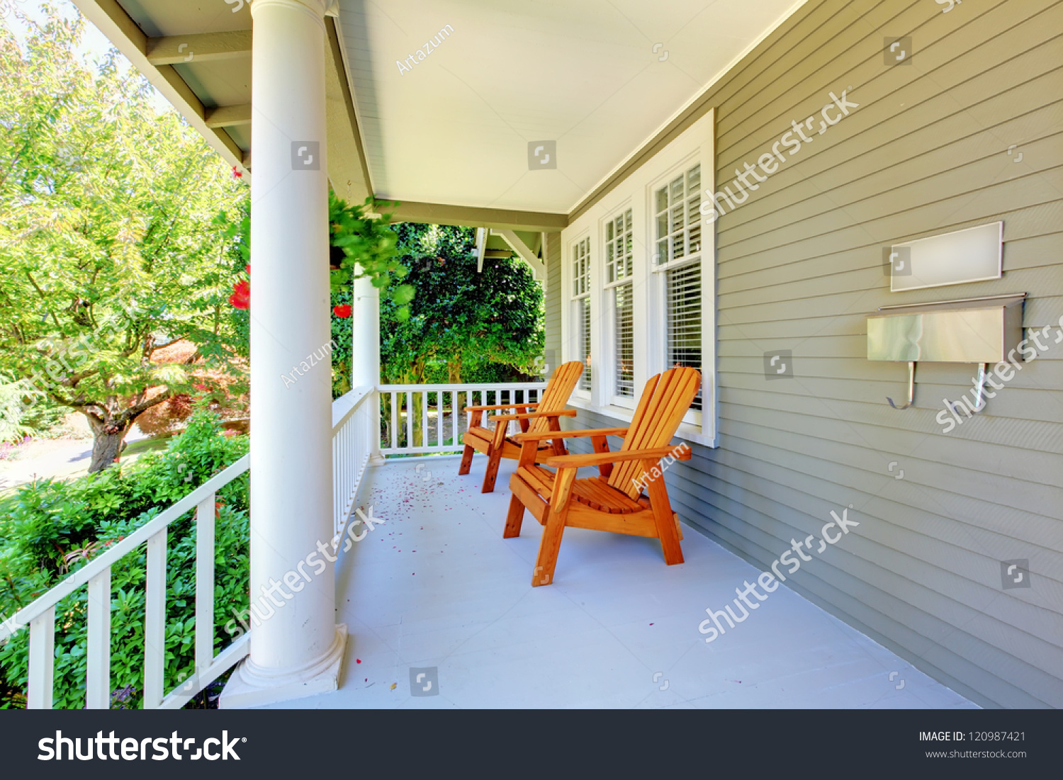 Craftsman style porch columns - Front Porch With Chairs And Columns Of Old Craftsman Style Home