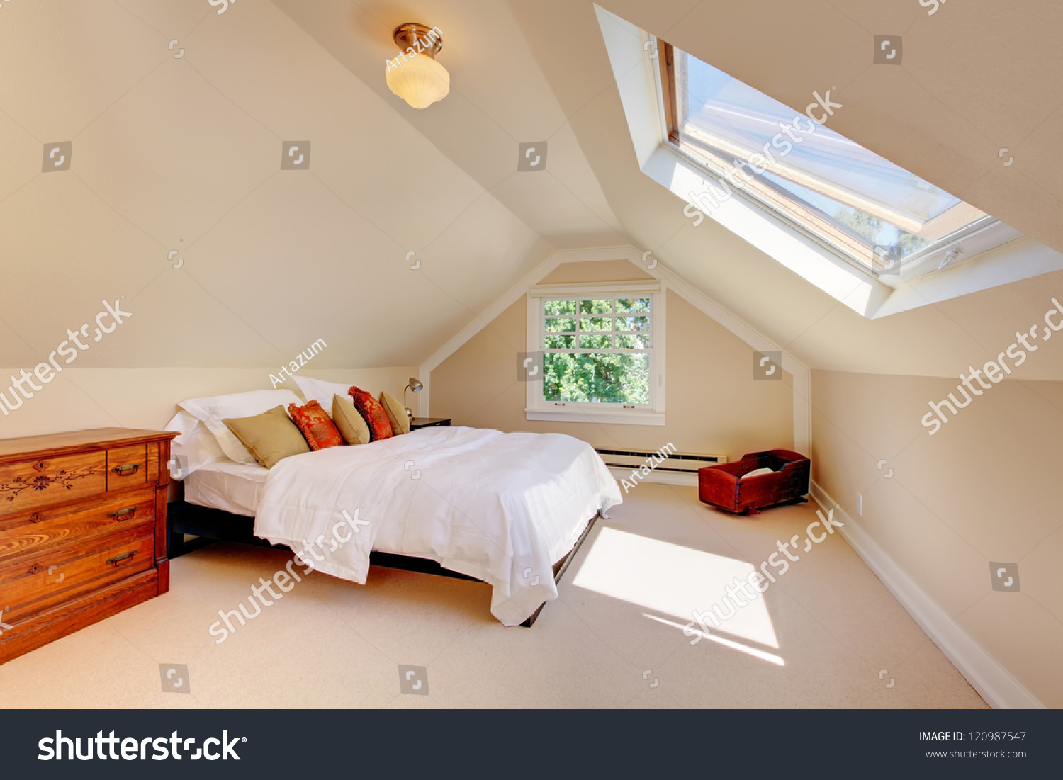 attic modern bedroom white bed skylight stock photo 120987547 shutterstock. Black Bedroom Furniture Sets. Home Design Ideas