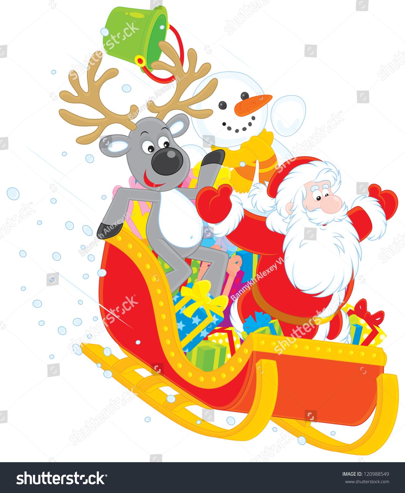 santa claus reindeer snowman sliding down stock vector 120988549