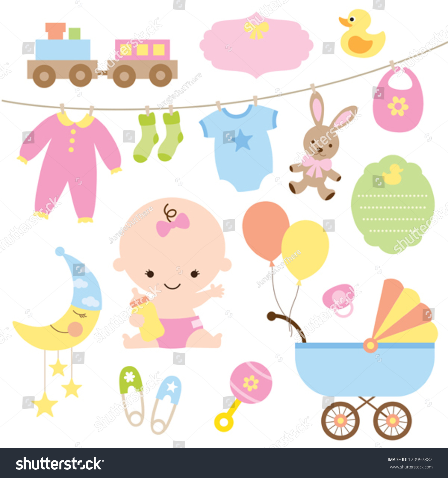 Vector Illustration Baby Related Items Stock Vector ...
