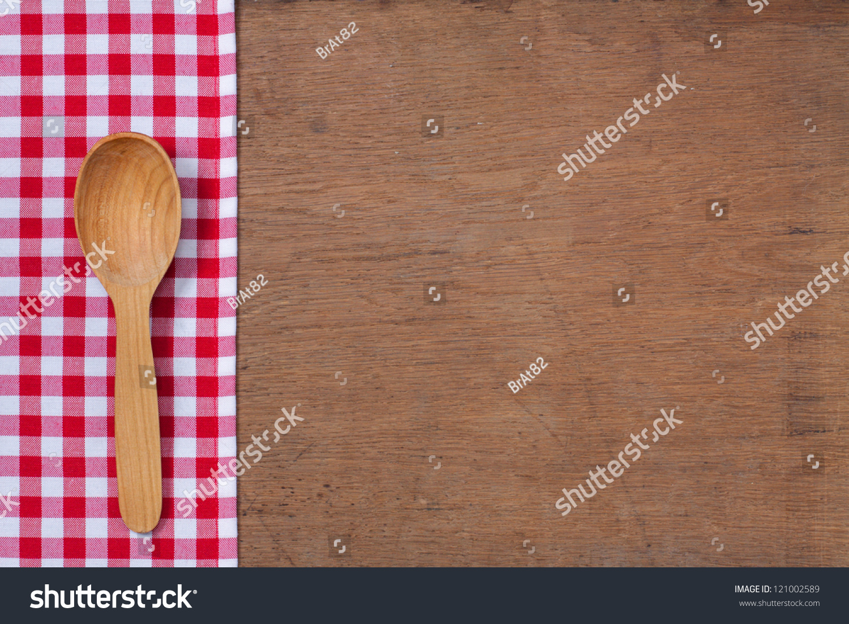 Kitchen Tablecloth Wooden Spoon On Oak Stock Photo (Edit Now