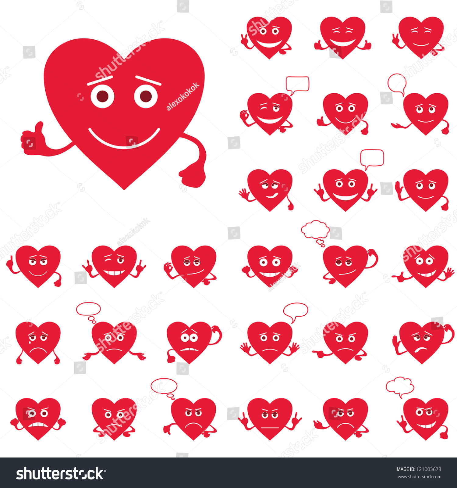 set of valentine hearts smilies love signs symbolizing various emotions vector