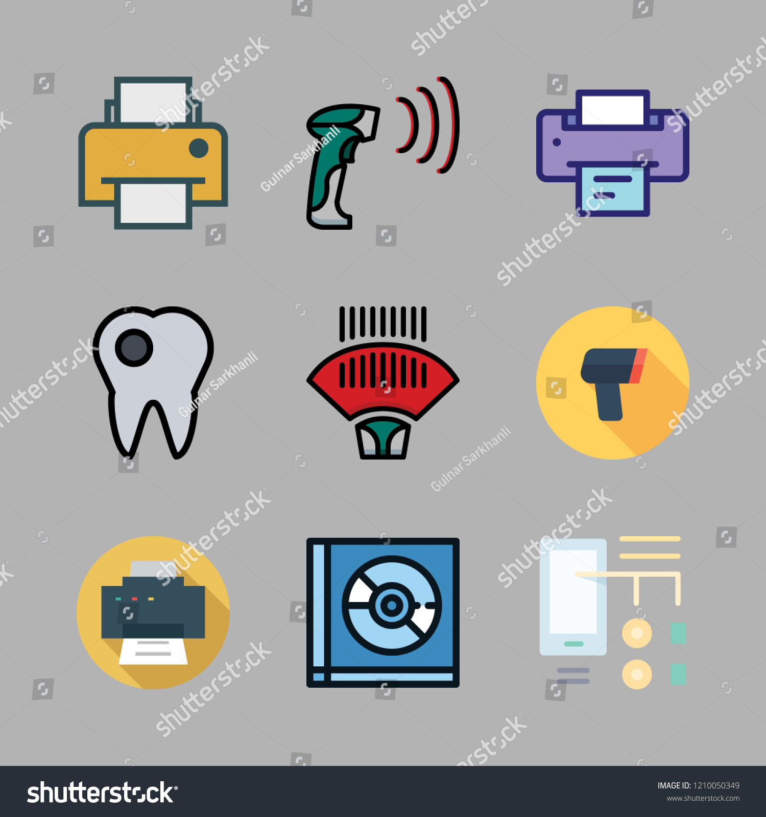 stock vector laser icon set vector set about diagram id scanning compact disc and printer icons set 1210050349 laser icon set vector set about stock vector (royalty free