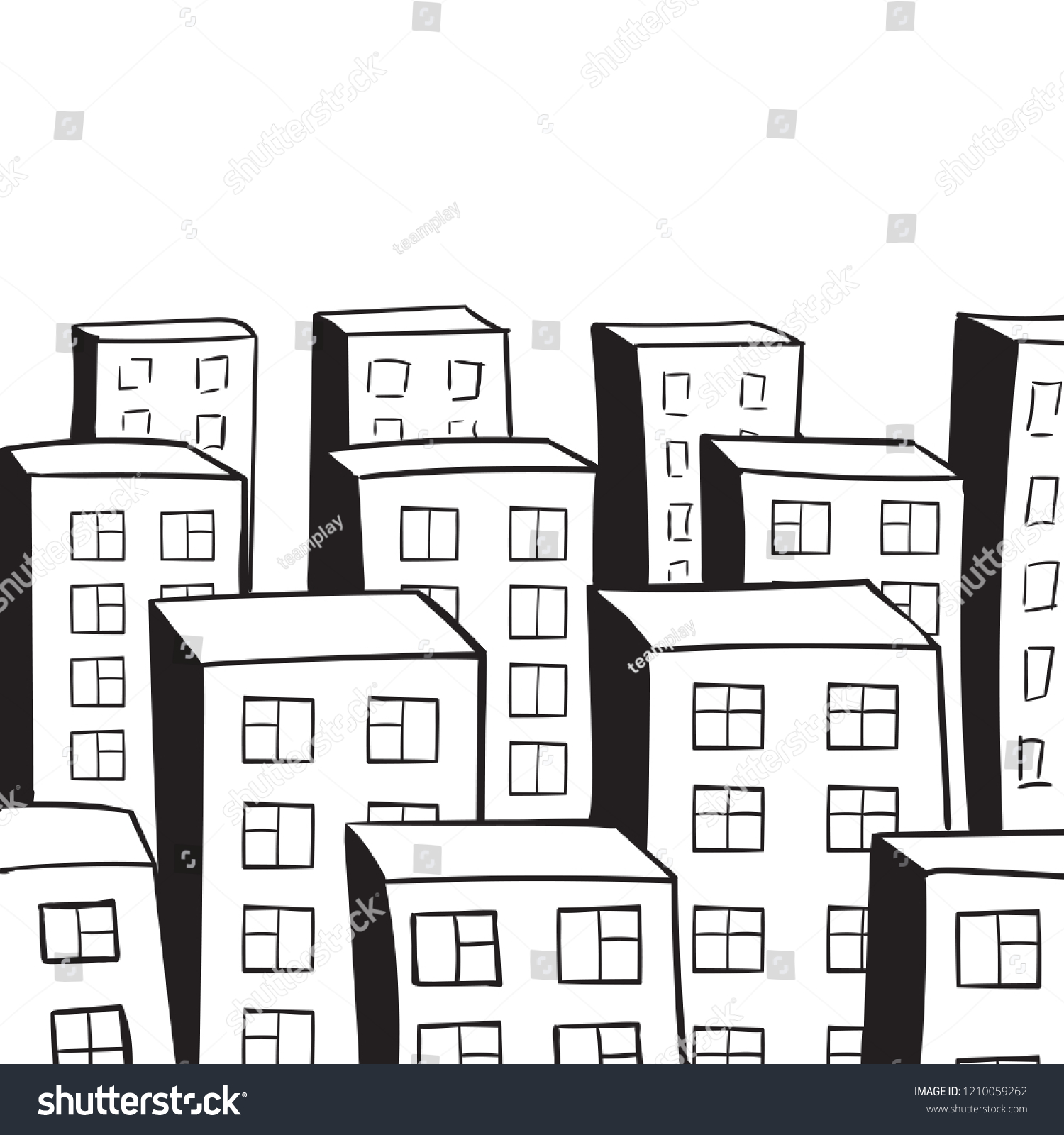 City landscape sketch of the city top view roofs of multi storey