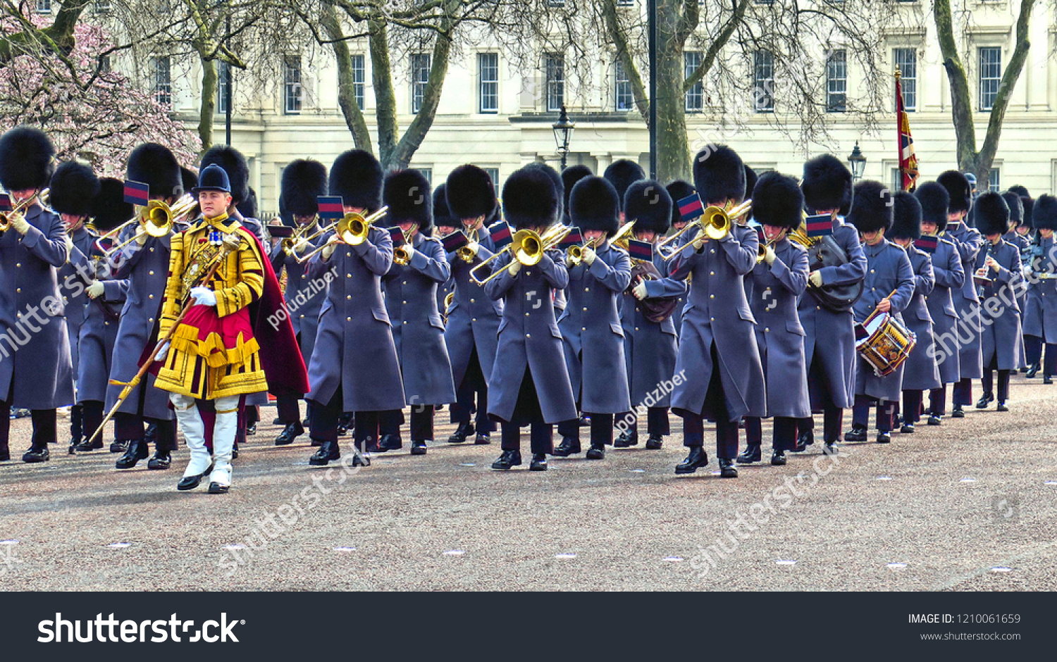 LONDON 15.03.2015. British Royal guards and orchestra perform the Changing of the Guard in Buckingham Palace. Queen's Guard is one of the major touristat tractions in UK.