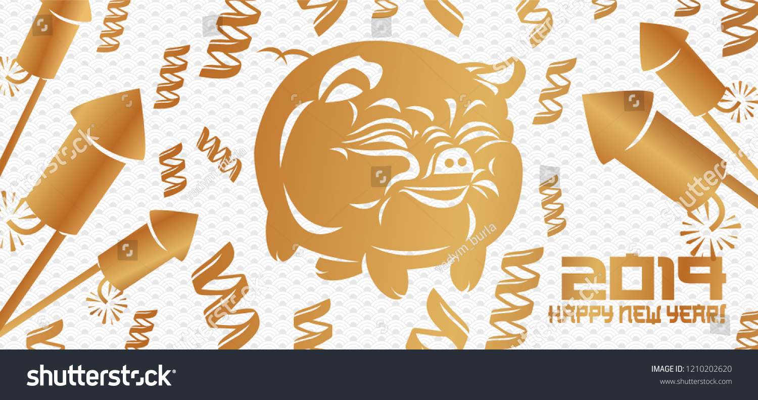 happy chinese new year 2019 of the pig abstract clip art flat design fireworks