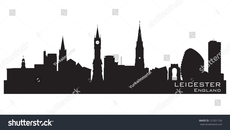 Leicester England Skyline Detailed Silhouette Vector Stock ...