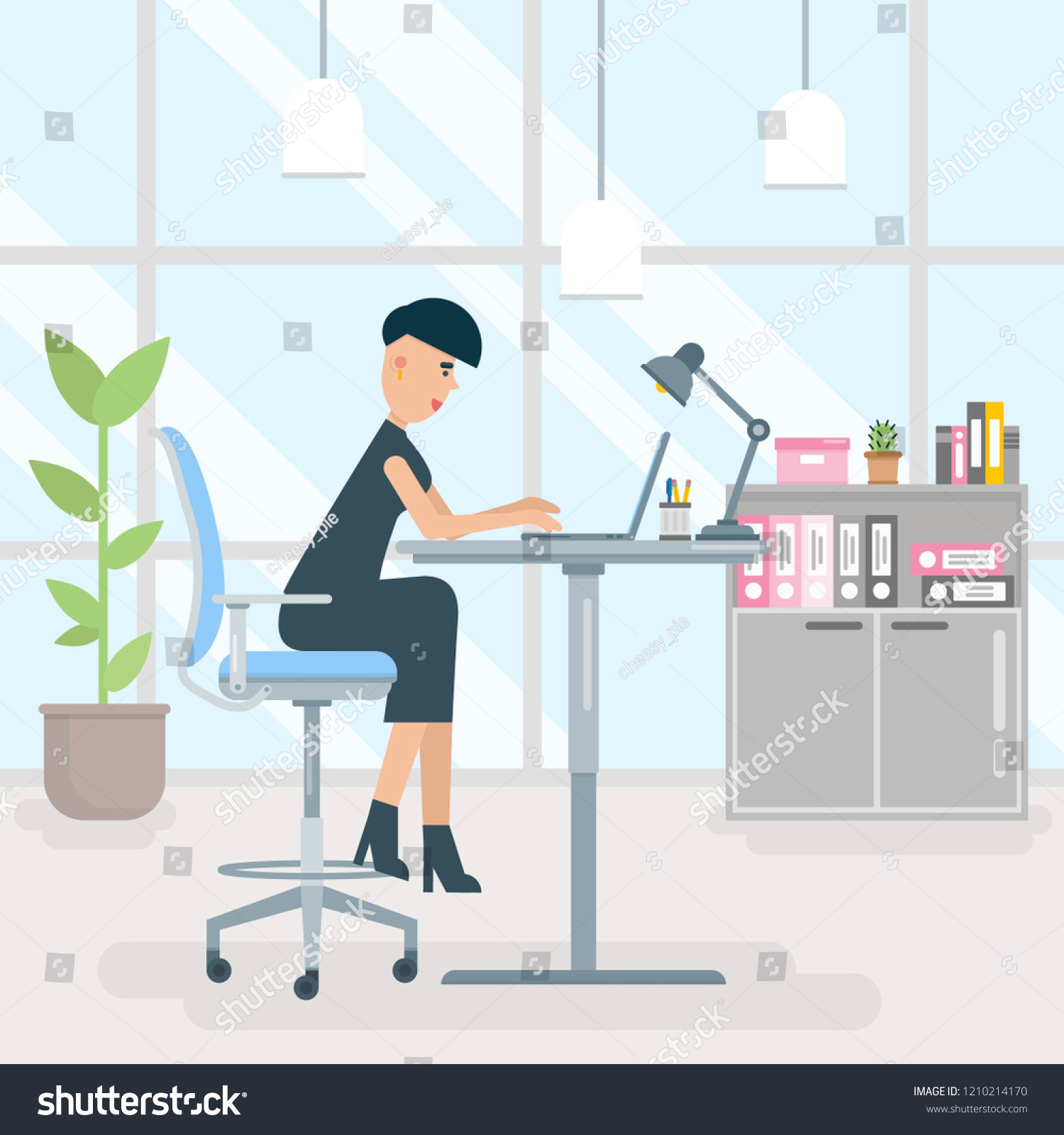 Image of: Young Brunette Business Woman Employee Secretary Stock Vector Royalty Free 1210214170