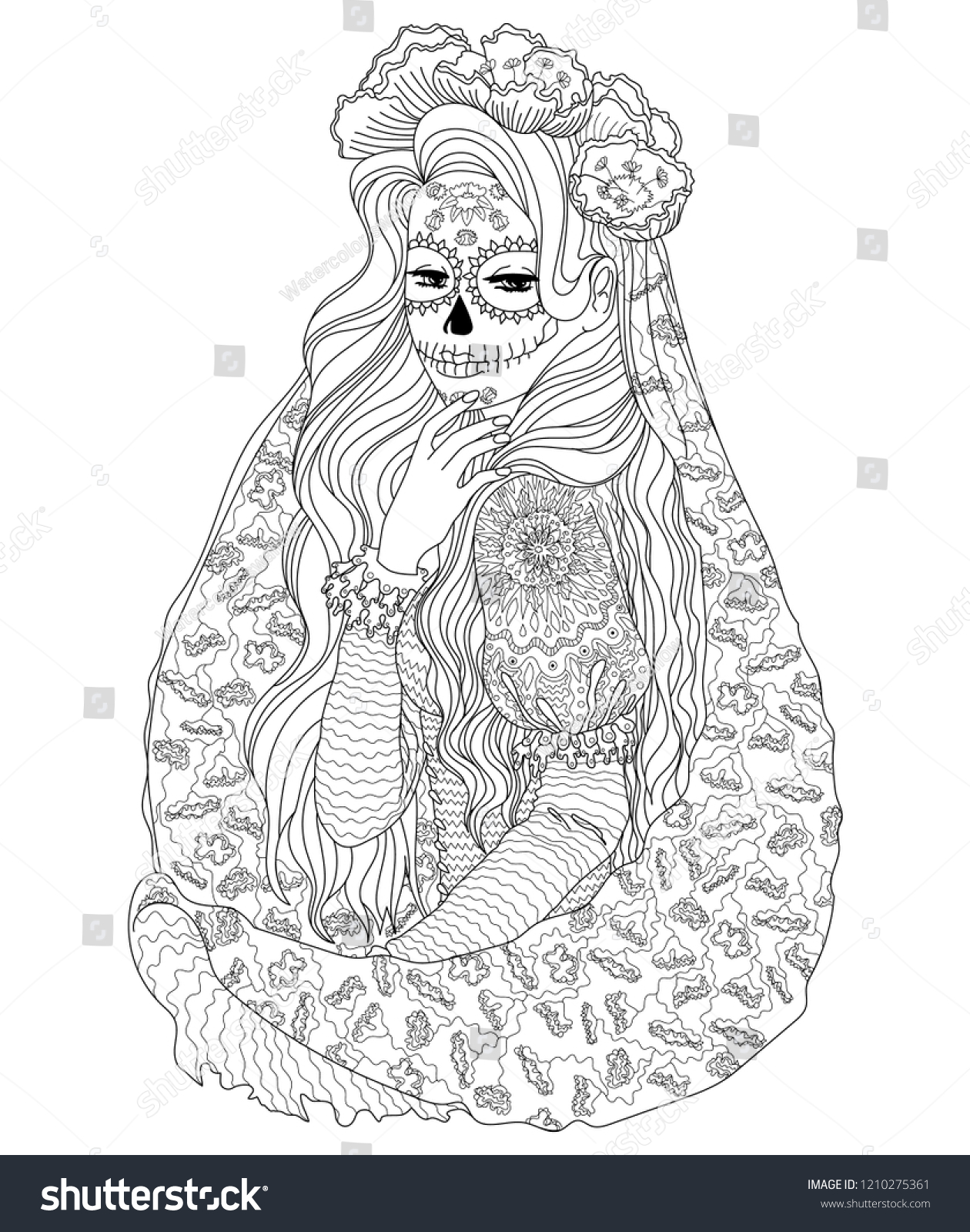 beautifull girl with santa muerte body art vector coloring page for national mexican holiday