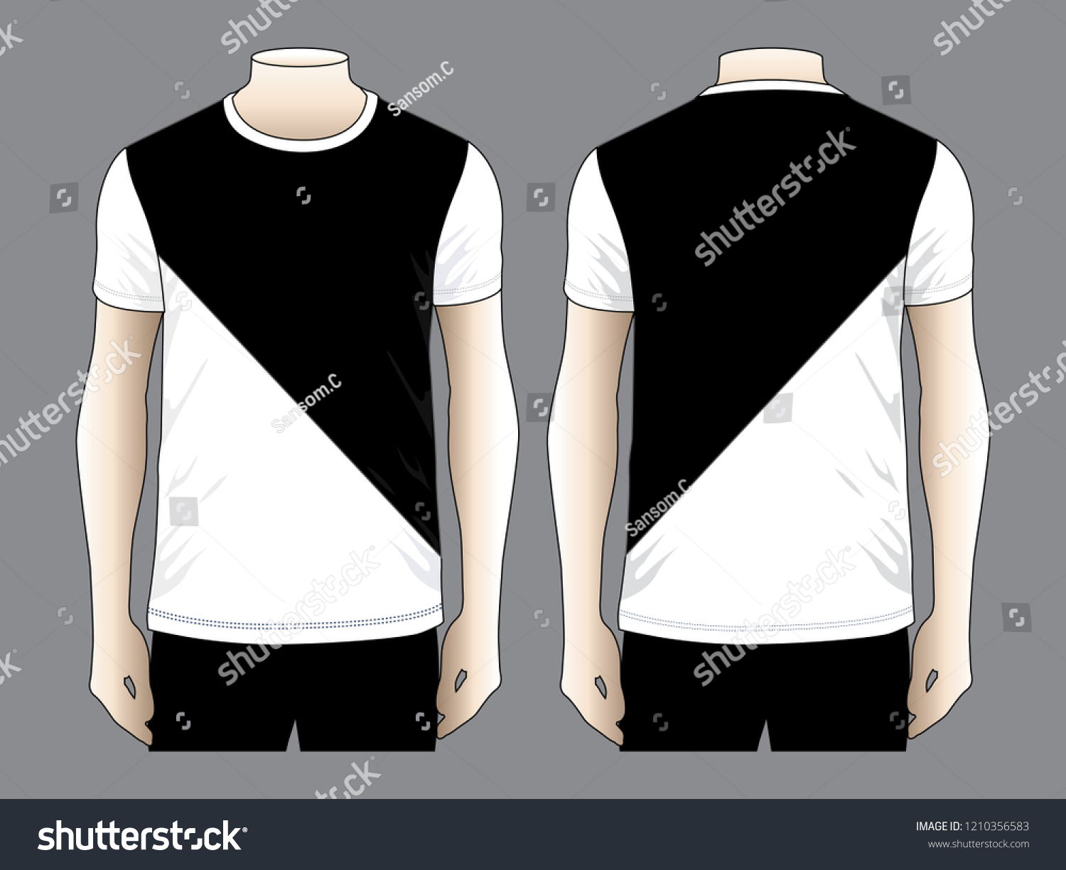 T Shirt Design Vector Black White Two Stock Vector Royalty Free