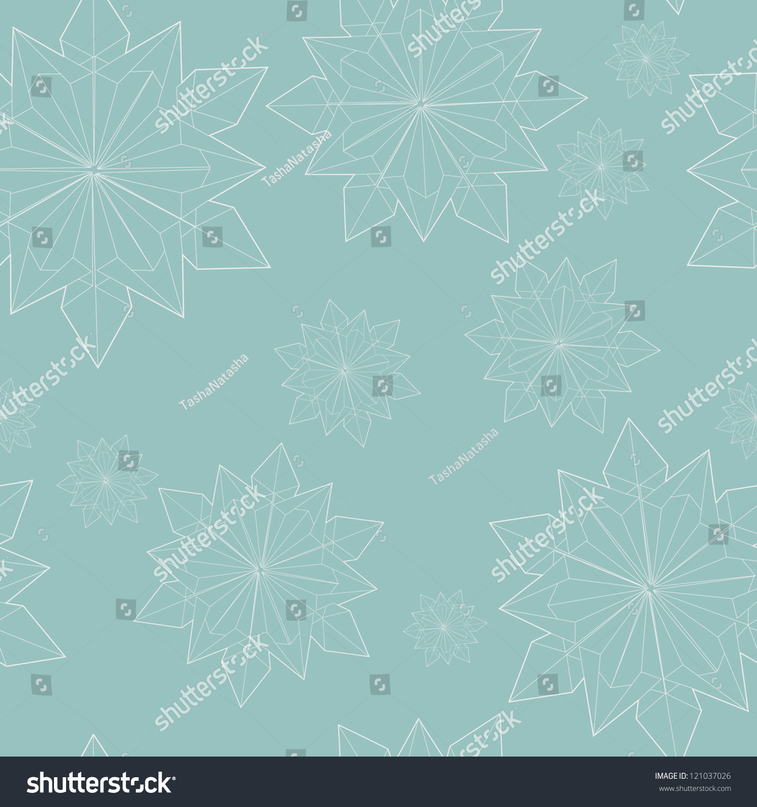Winter Seamless Pattern With Origami Snowflakes Outlines Ez Canvas