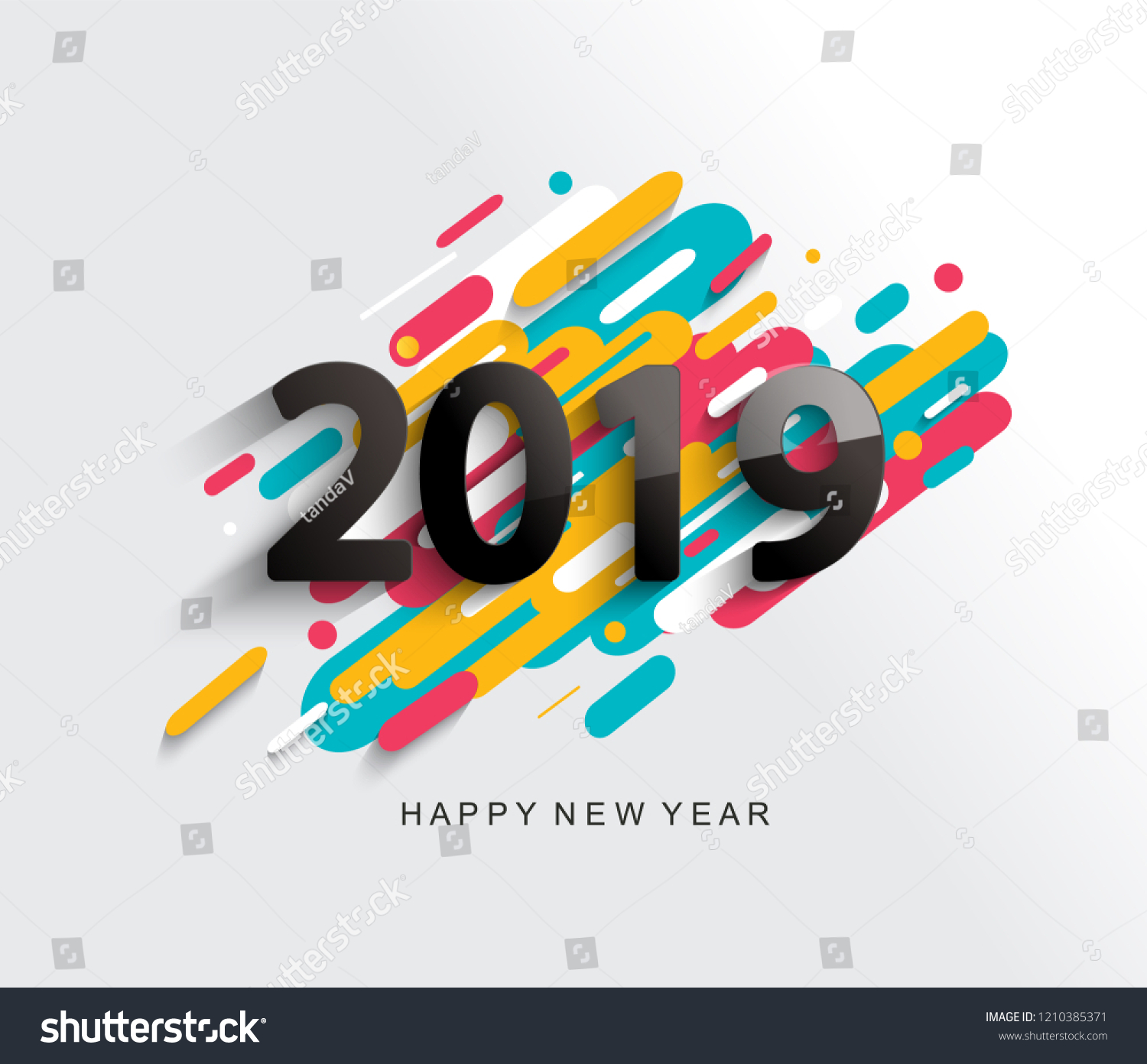 creative happy new year 2019 card on modern background for your seasonal holidays flyers greetings