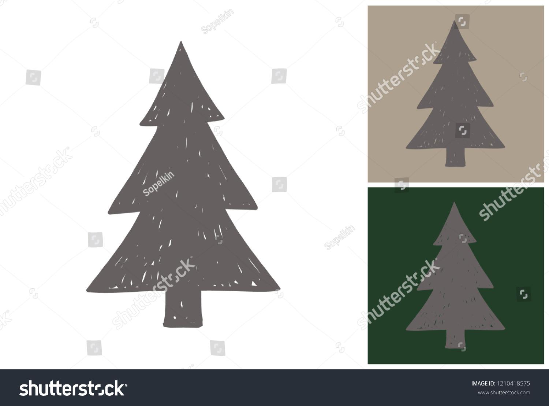 Grey Christmas Tree Hand Drawn Retro Stock Vector Royalty Free 1210418575