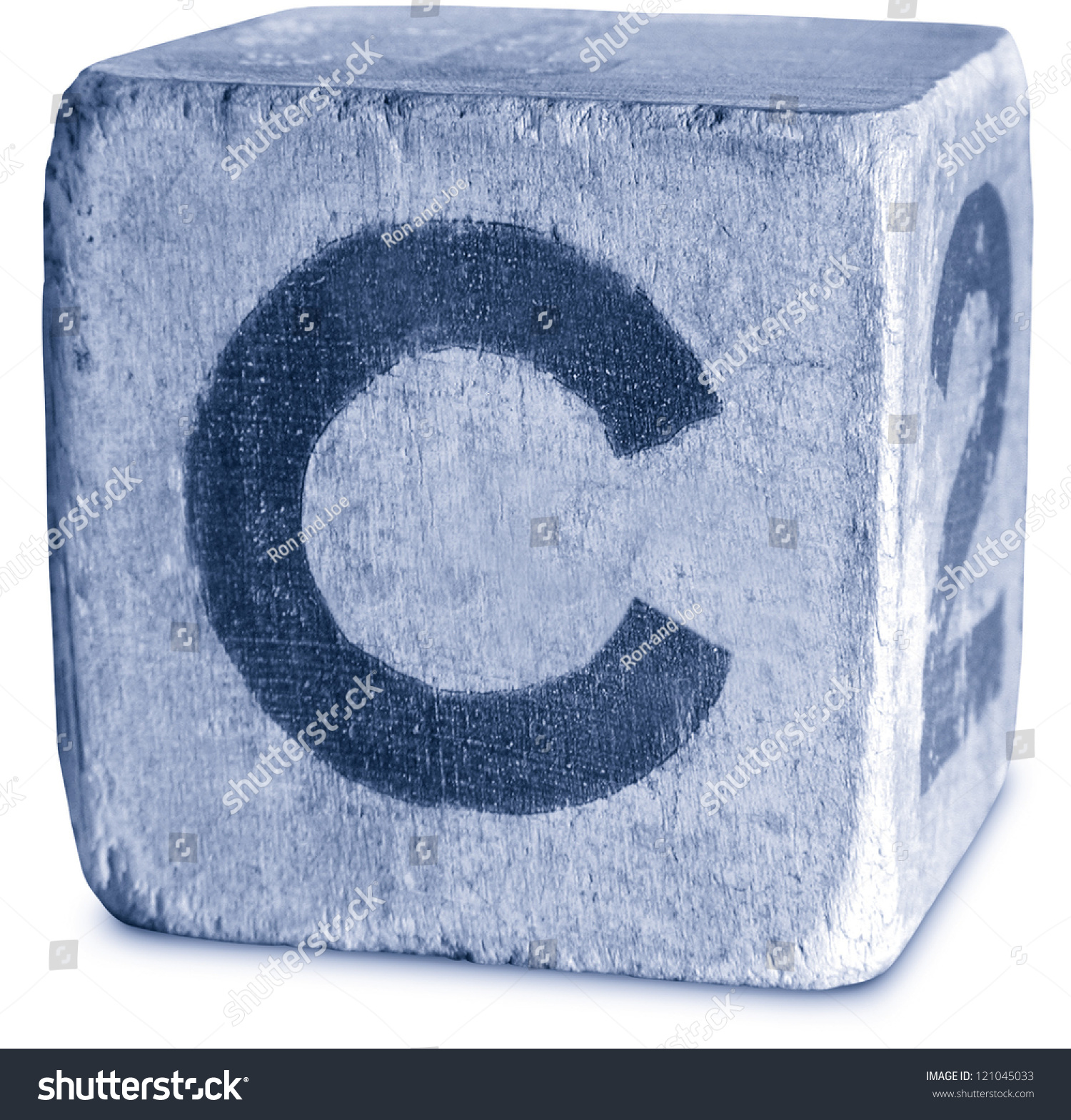 Photograph Blue Wooden Block Letter C Stock Photo