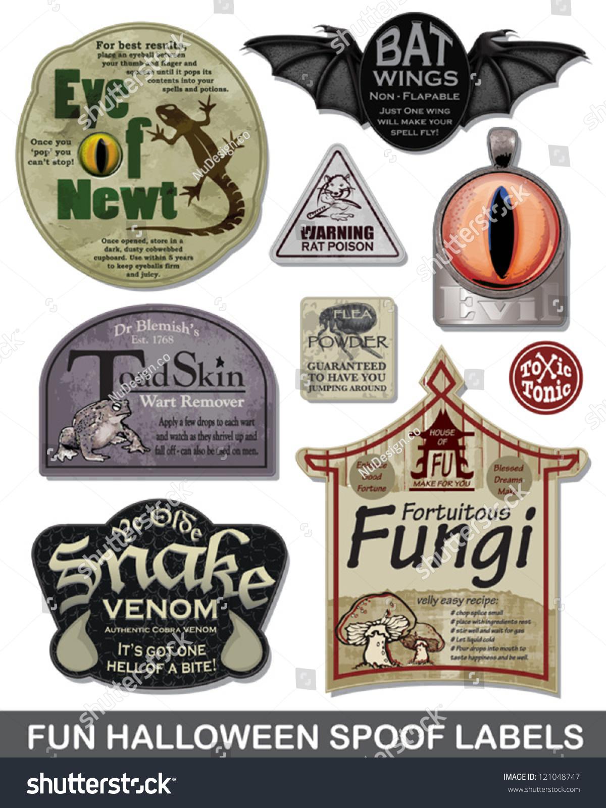 Fun Halloween Spoof Vector Labels Bring Stock Vector 121048747 ...
