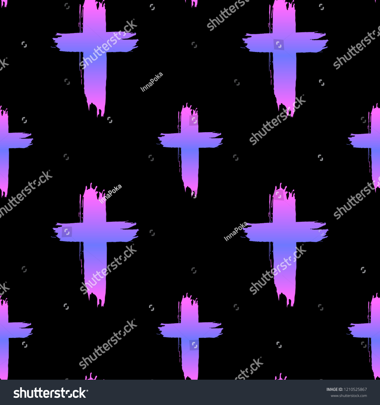 Seamless Pattern Crosses On Black Background Stock Vector Royalty Free 1210525867