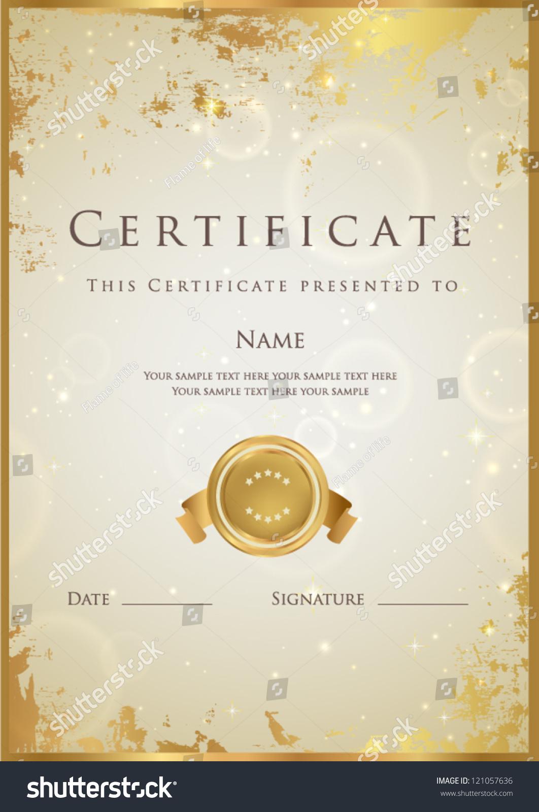 vertical beige certificate completion template golden
