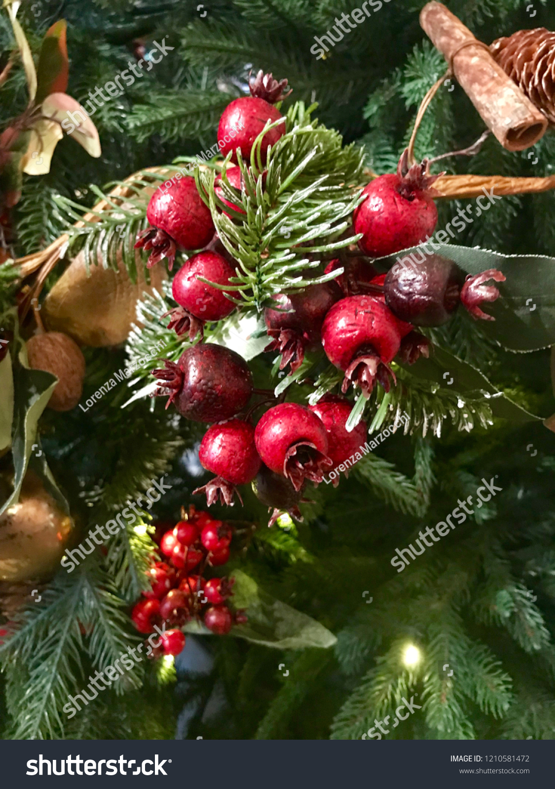 Festive Christmas Decorations Cranberries Holly Berries Stock Photo Edit Now 1210581472