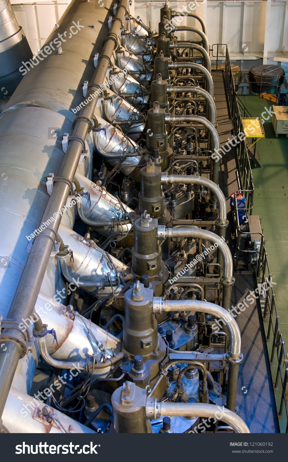 Cargo Ship Engine Room: Marine Engine Of The Large Container Ship Stock Photo