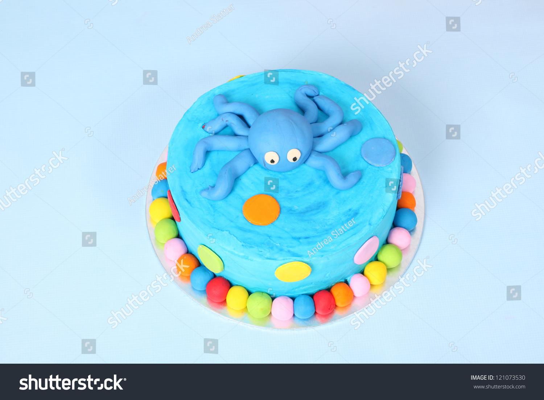 Kids Blue Round Birthday Party Cake Stock Photo Edit Now 121073530