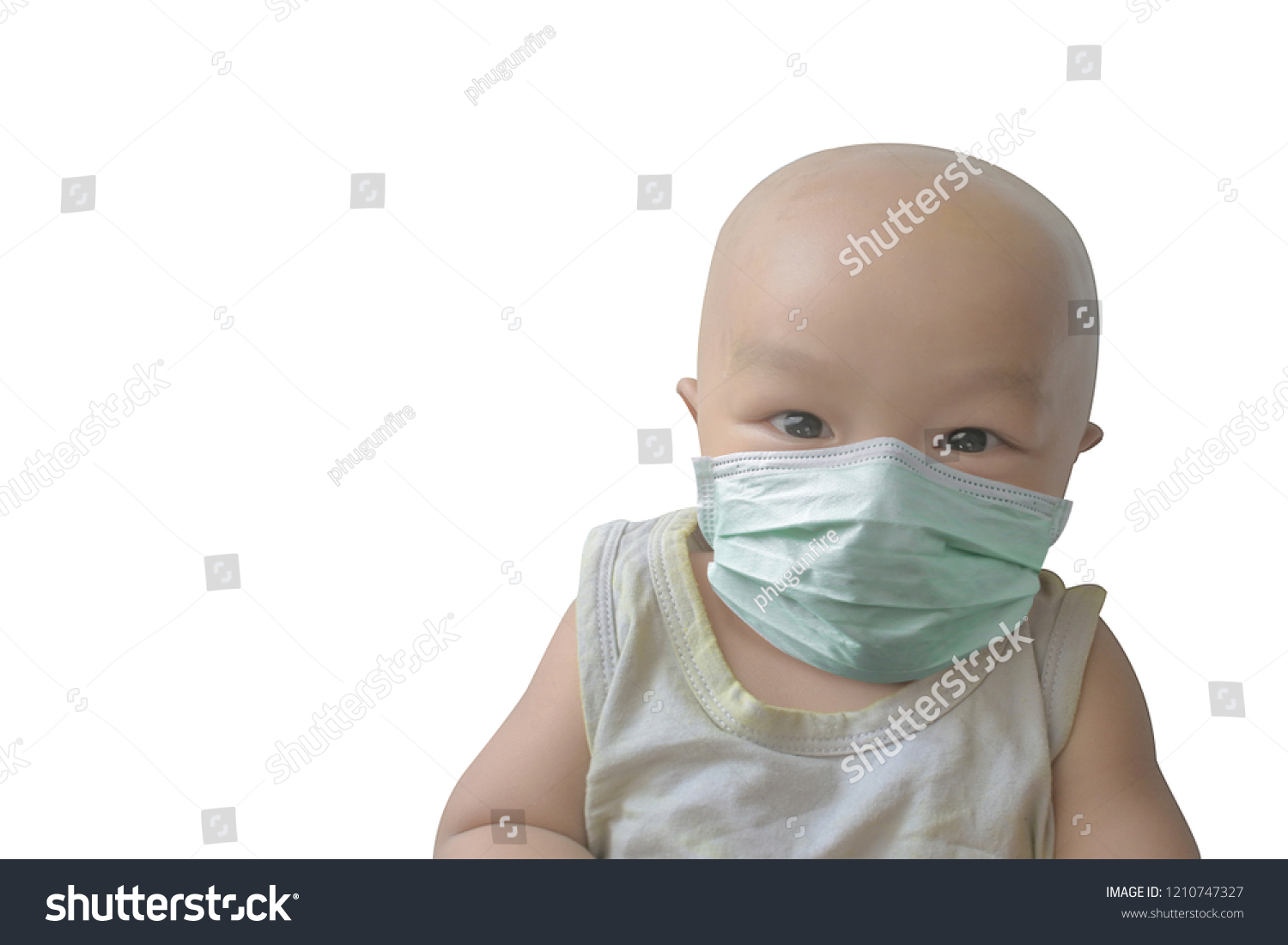 Healthcare Stock Without Hair Wearing medical Mask Baby Image