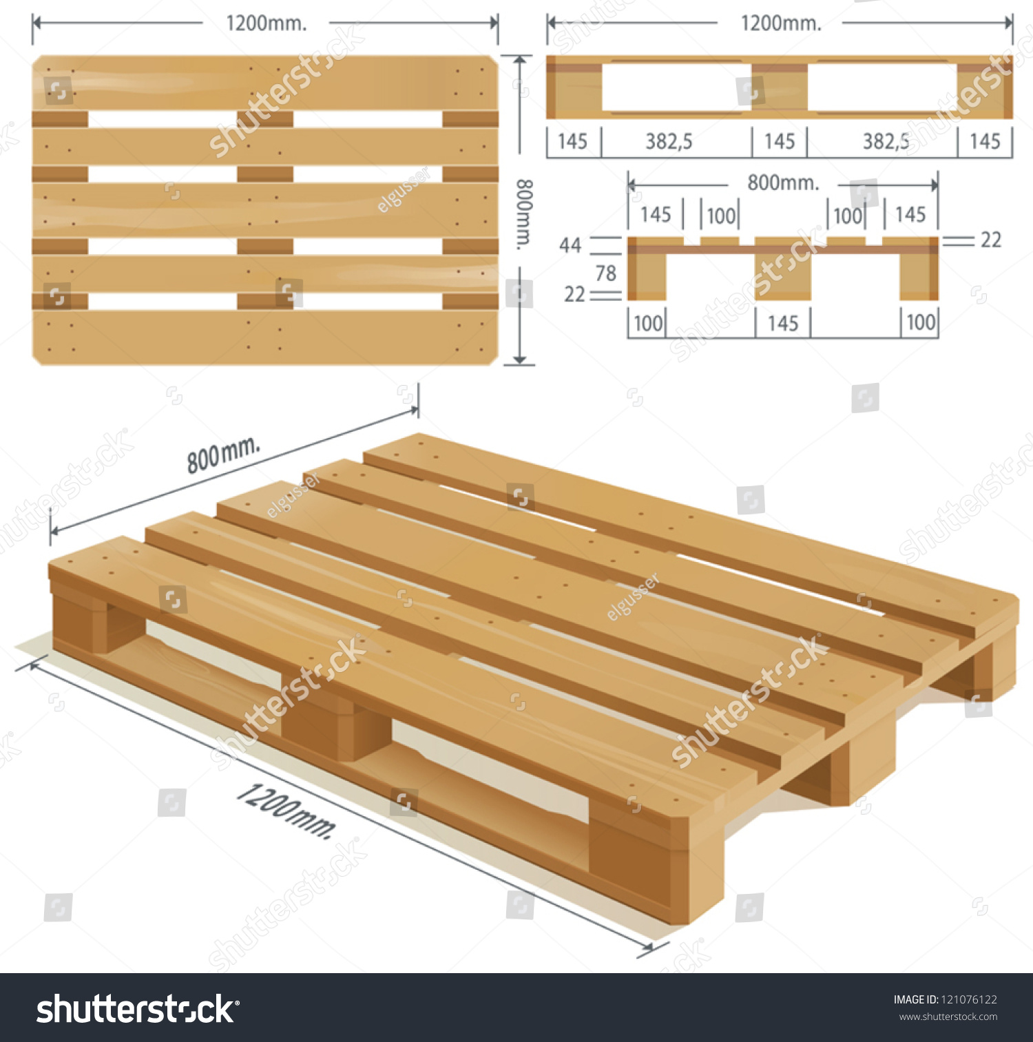 Wooden Pallet Perspective Front Side View Stock Vector ...