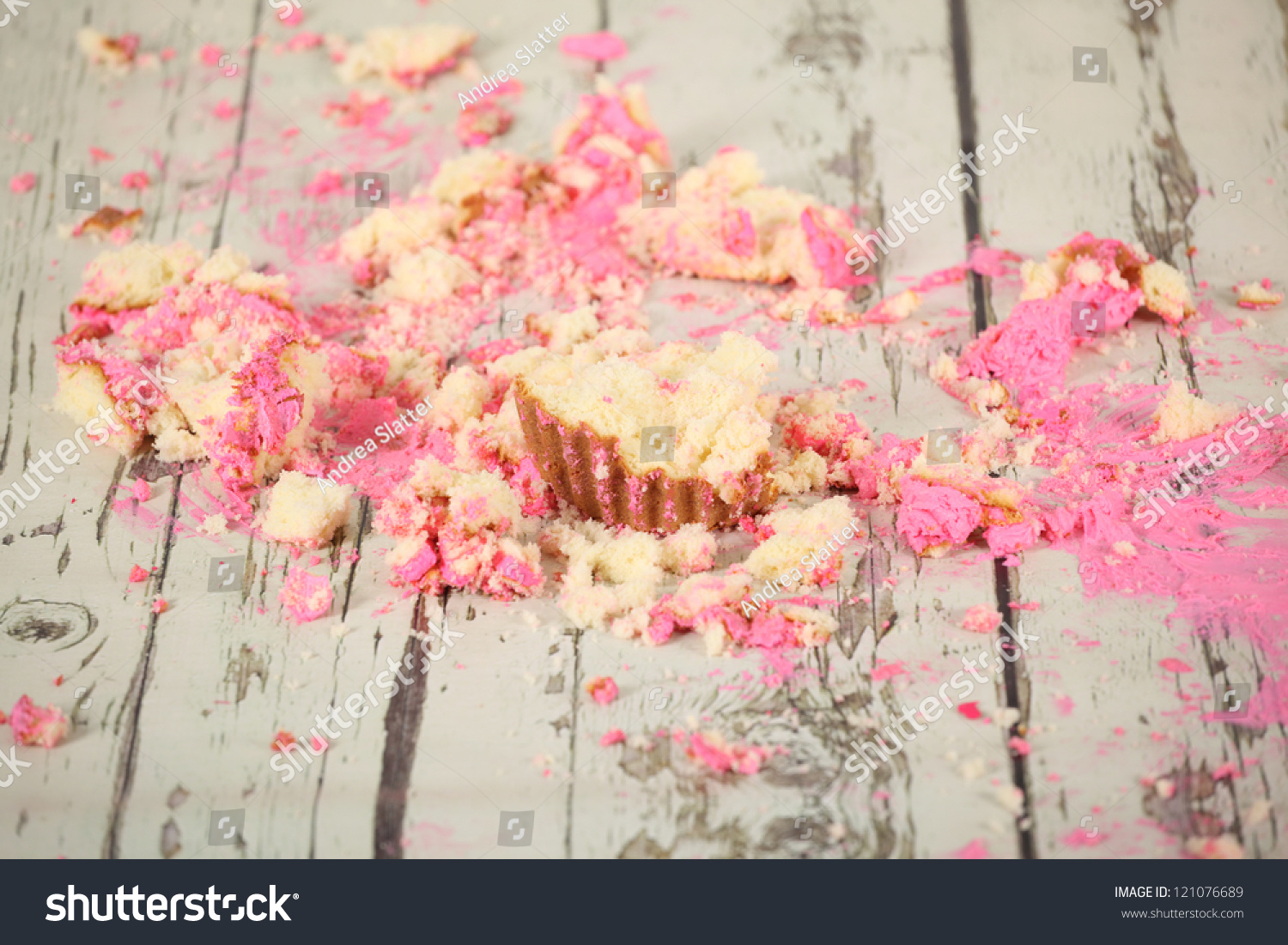 Smashed Birthday Cake Taken End Party Stock Photo Edit Now