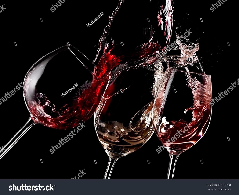 Red, White And Rose Wine Splash On Black Background Stock ...