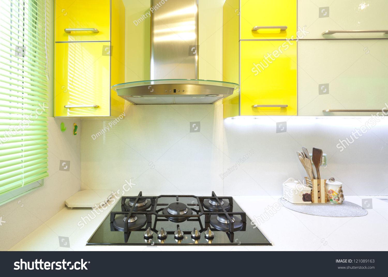 Modern Design Kitchen With Yellow And Green Elements Stock Photo 121089163 Shutterstock