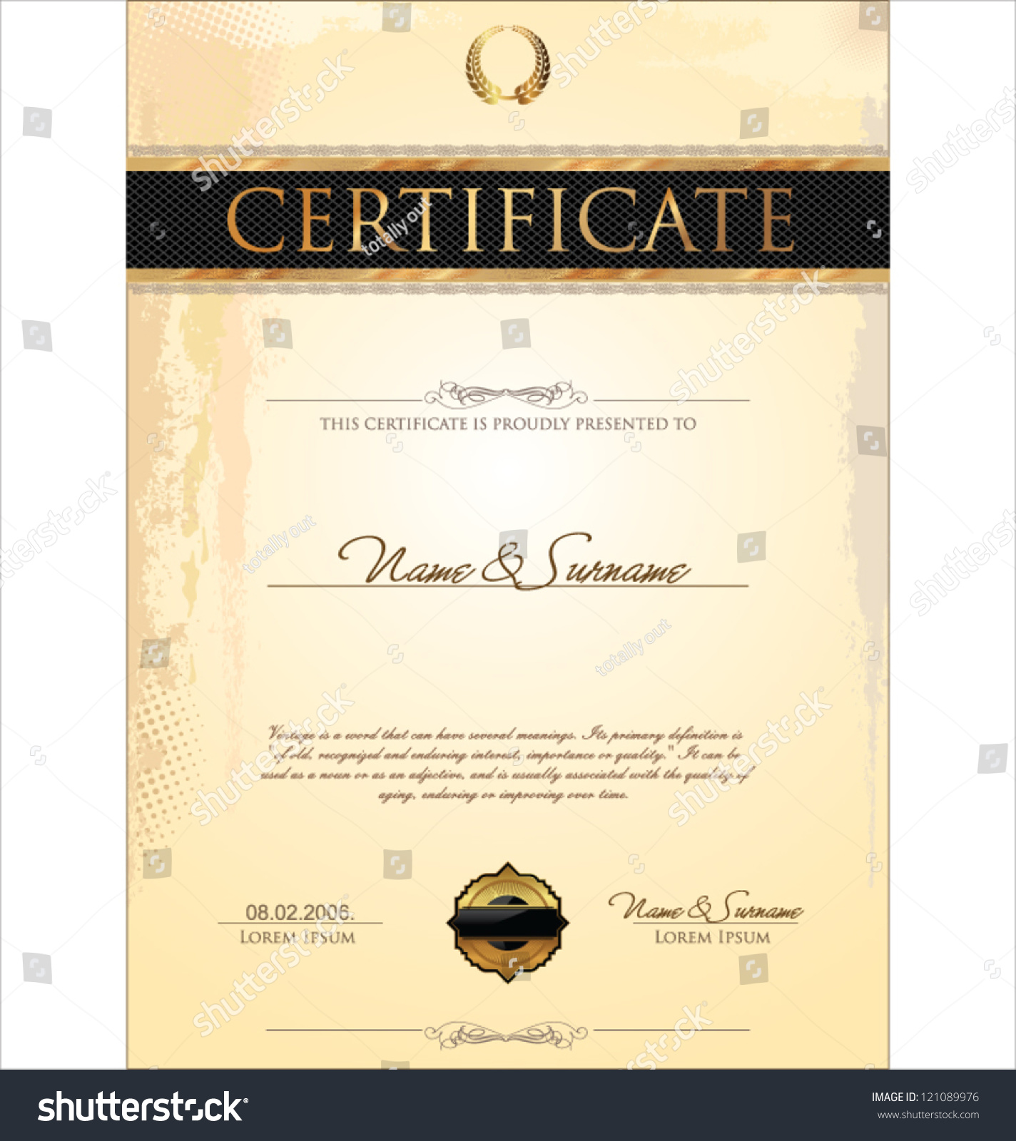 Certificate Template Stock Vector Royalty Free 121089976