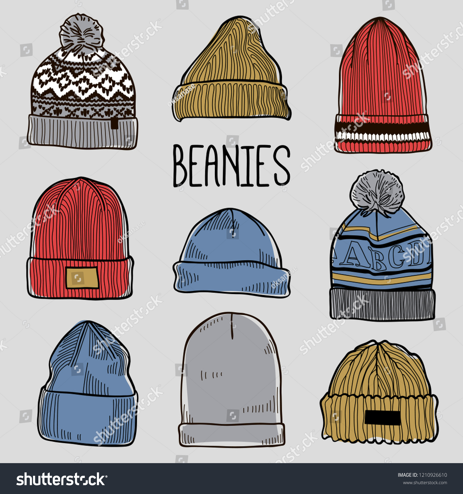 24be3972f0e52 Set Fashion Mens Caps Hats Sketches Stock Vector (Royalty Free ...