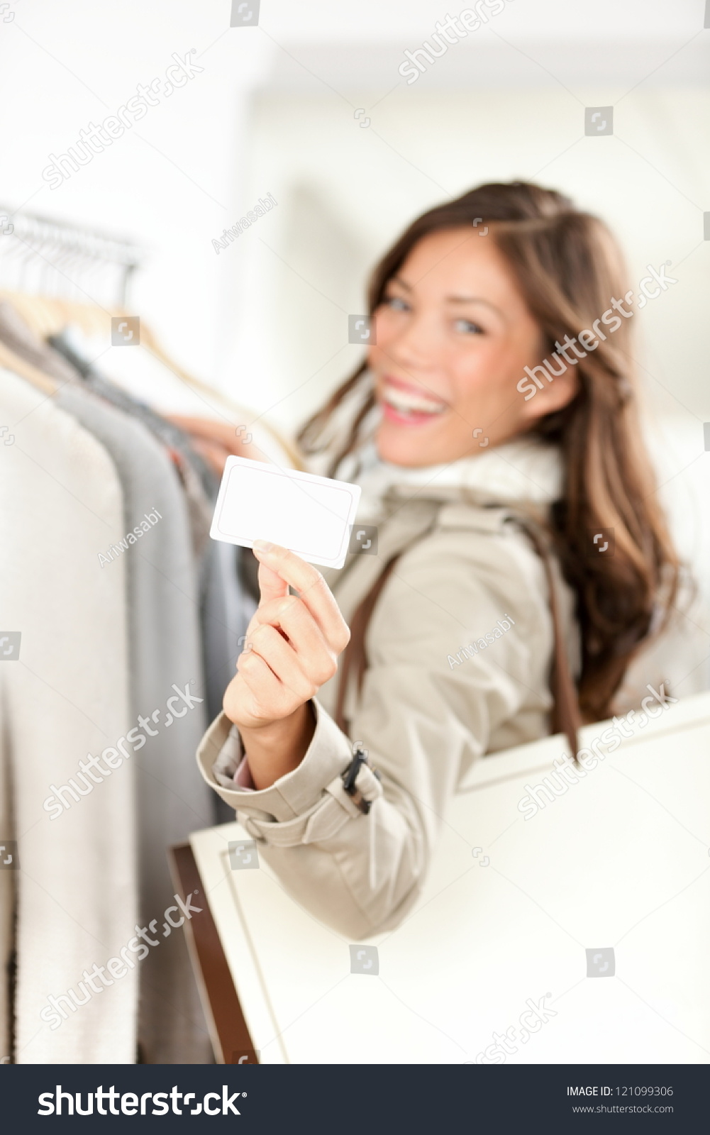 Shopping gift card woman happy showing business card or for Gift card business model