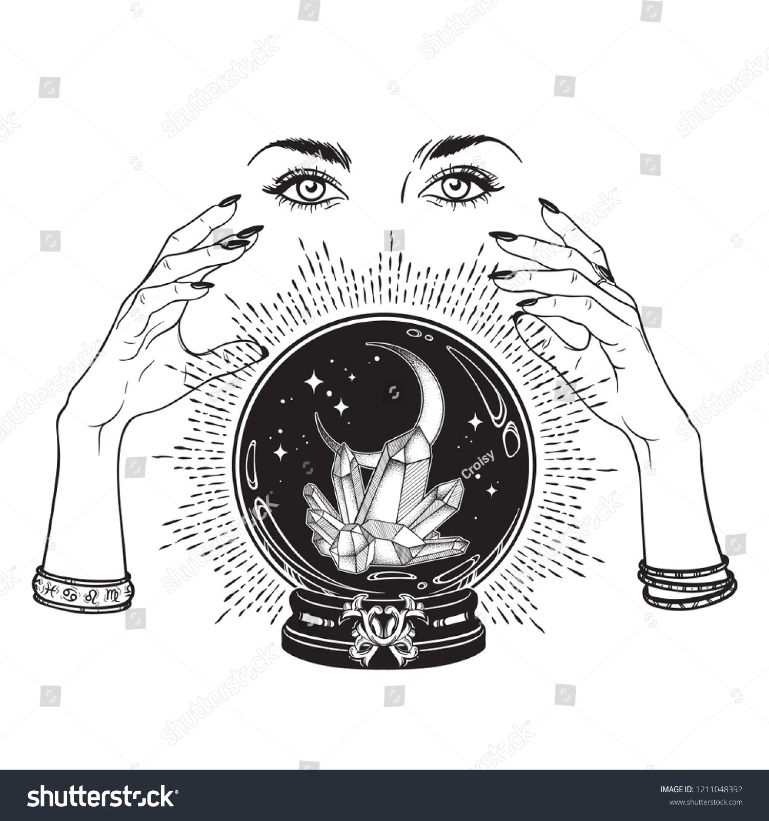 Moons and Stars Digital Cut File metaphysical DIGITAL DOWNLOAD Hand-drawn Magic Crystal Ball Earrings svg