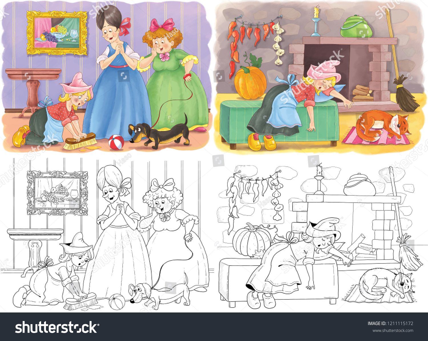 Cinderella Fairy Tale Coloring Page Coloring Stock Illustration ...