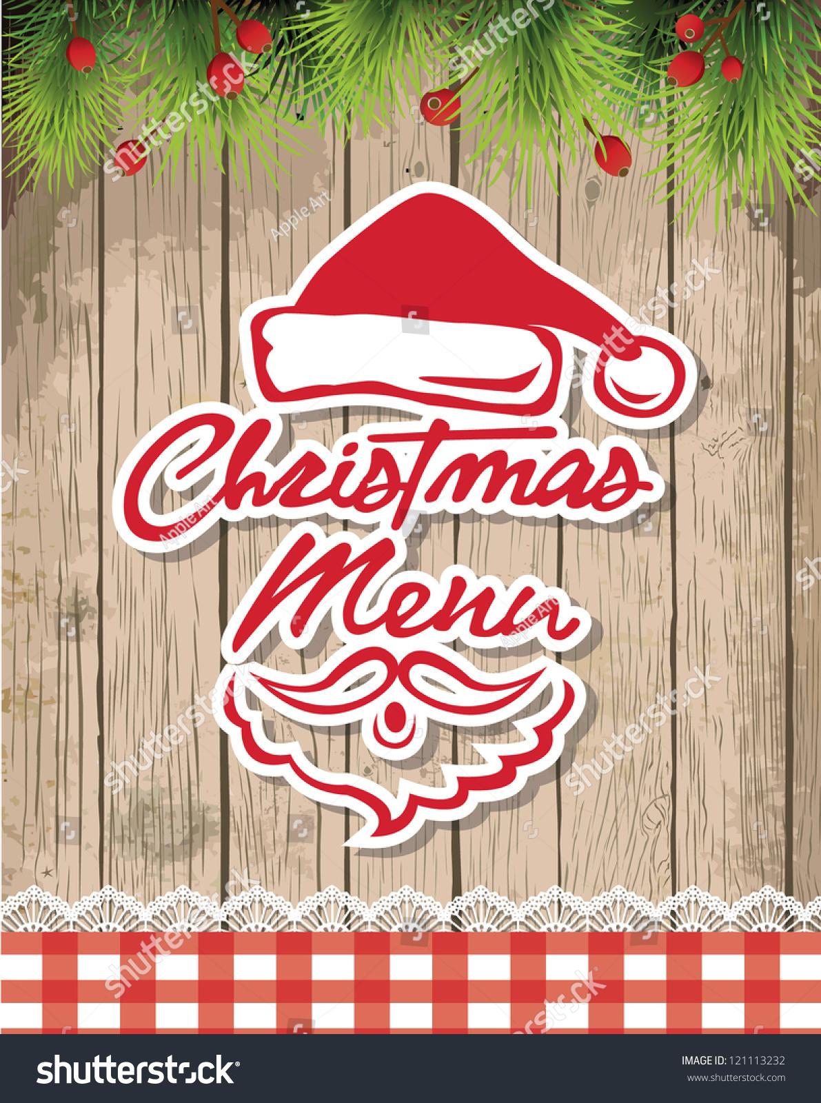 Christmas restaurant menu tree on stock vector