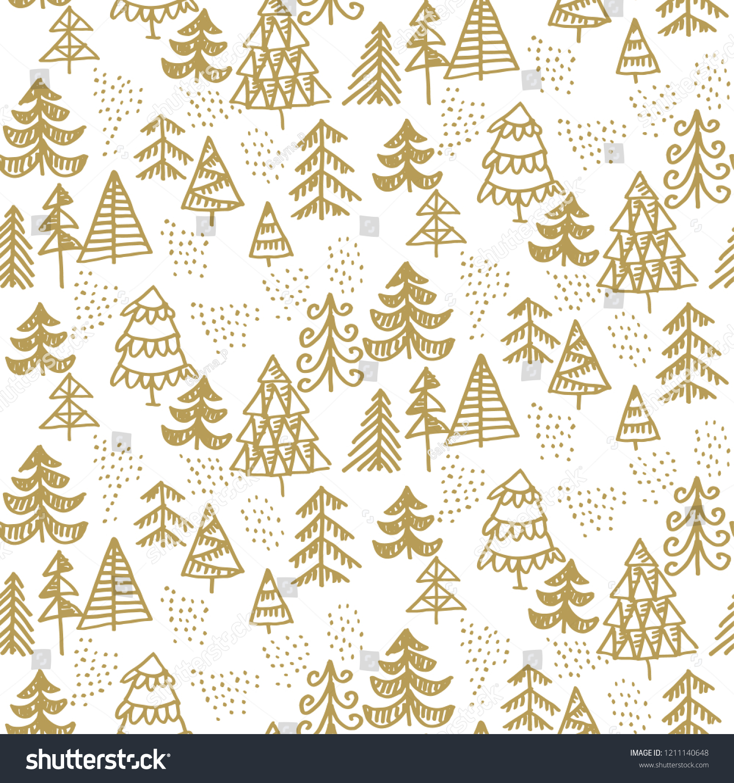 One Color Christmas Tree Hand Drawn Stock Vector Royalty Free 1211140648