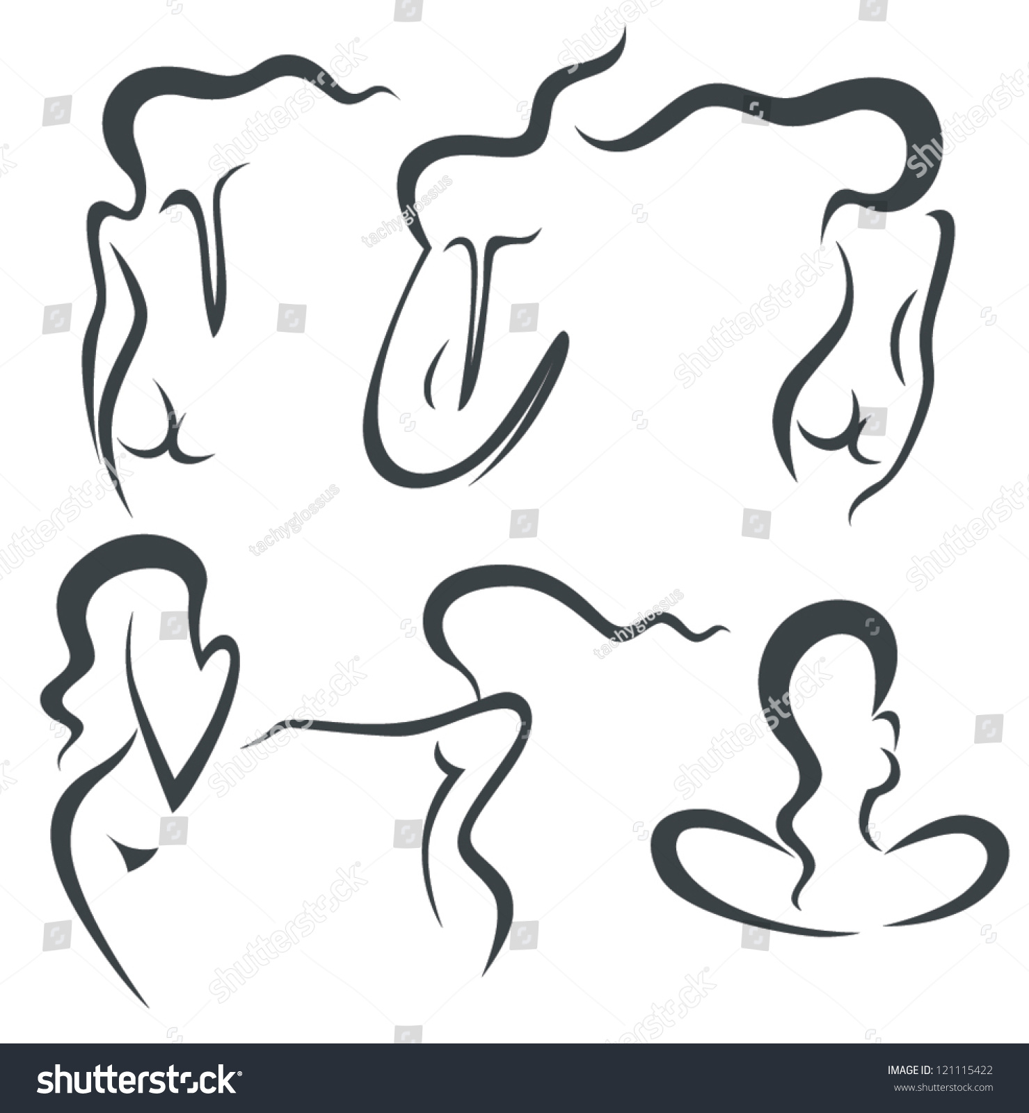 Vector Collection Woman Silhouette Symbols Beauty Stock Vector